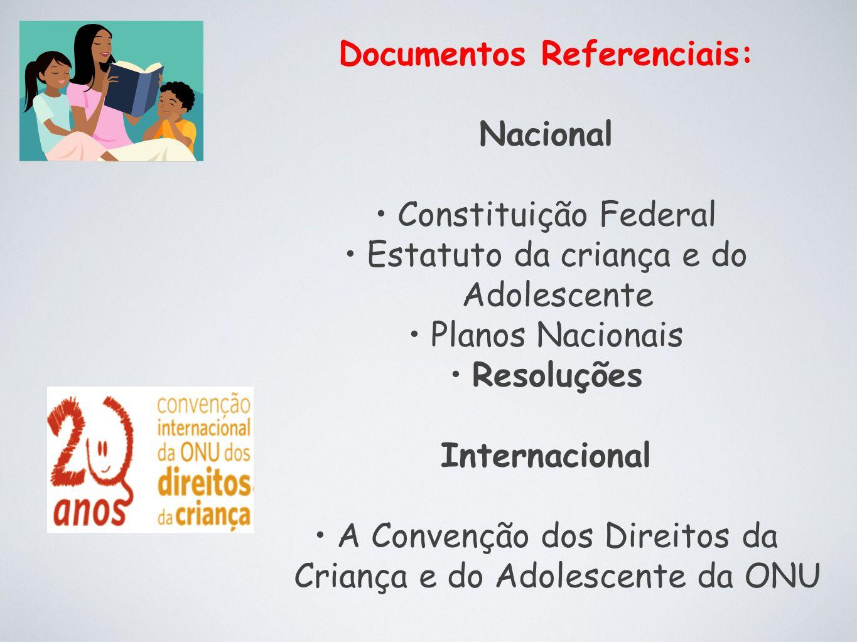 Documentos Referenciais: Nacional Constituição Federal Estatuto da criança e do Adolescente Planos Nacionais Resoluções Internacional A Convenção dos Direitos da Criança e do Adolescente da ONU