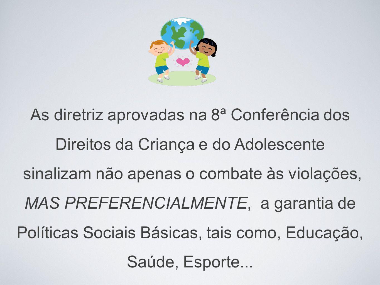 As diretriz aprovadas na 8ª Conferência dos Direitos da Criança e do Adolescente sinalizam não apenas o combate às violações, MAS PREFERENCIALMENTE, a garantia de Políticas Sociais Básicas, tais como, Educação, Saúde, Esporte...