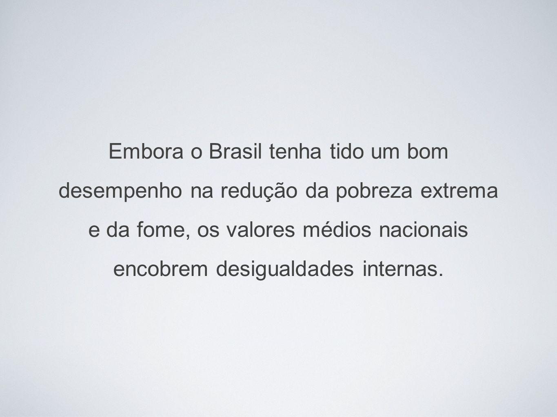 Embora o Brasil tenha tido um bom desempenho na redução da pobreza extrema e da fome, os valores médios nacionais encobrem desigualdades internas.