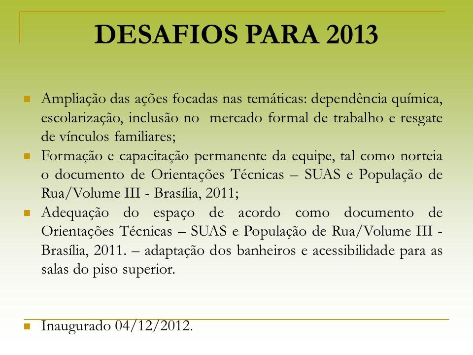 DESAFIOS PARA 2013 Ampliação das ações focadas nas temáticas: dependência química, escolarização, inclusão no mercado formal de trabalho e resgate de