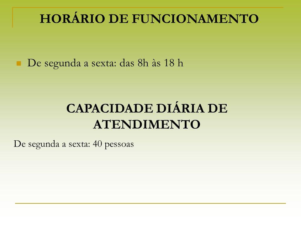 HORÁRIO DE FUNCIONAMENTO De segunda a sexta: das 8h às 18 h De segunda a sexta: 40 pessoas CAPACIDADE DIÁRIA DE ATENDIMENTO