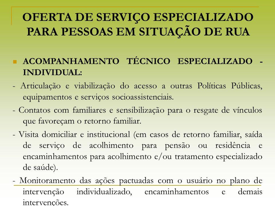 OFERTA DE SERVIÇO ESPECIALIZADO PARA PESSOAS EM SITUAÇÃO DE RUA ACOMPANHAMENTO TÉCNICO ESPECIALIZADO - INDIVIDUAL: - Articulação e viabilização do ace