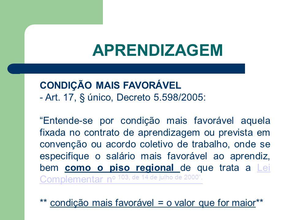 APRENDIZAGEM CONDIÇÃO MAIS FAVORÁVEL - Art.