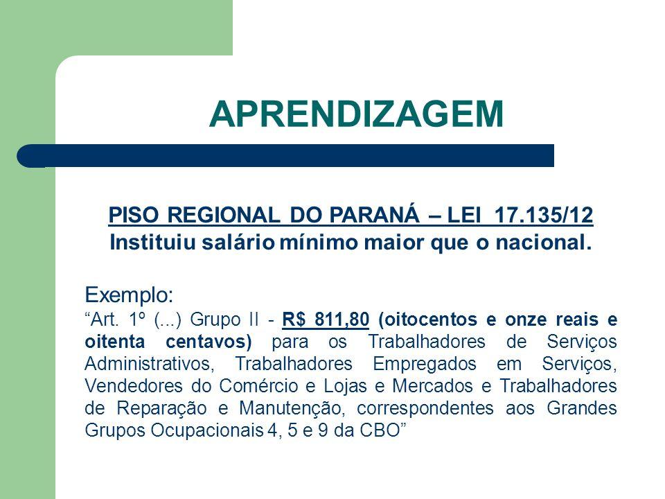 APRENDIZAGEM PISO REGIONAL DO PARANÁ – LEI 17.135/12 Instituiu salário mínimo maior que o nacional.