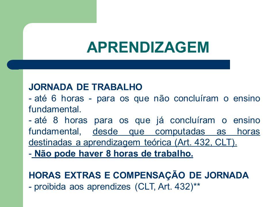APRENDIZAGEM JORNADA DE TRABALHO - até 6 horas - para os que não concluíram o ensino fundamental.