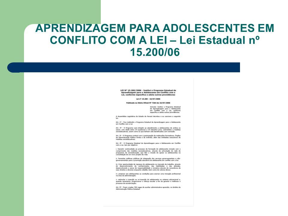 APRENDIZAGEM PARA ADOLESCENTES EM CONFLITO COM A LEI – Lei Estadual nº 15.200/06