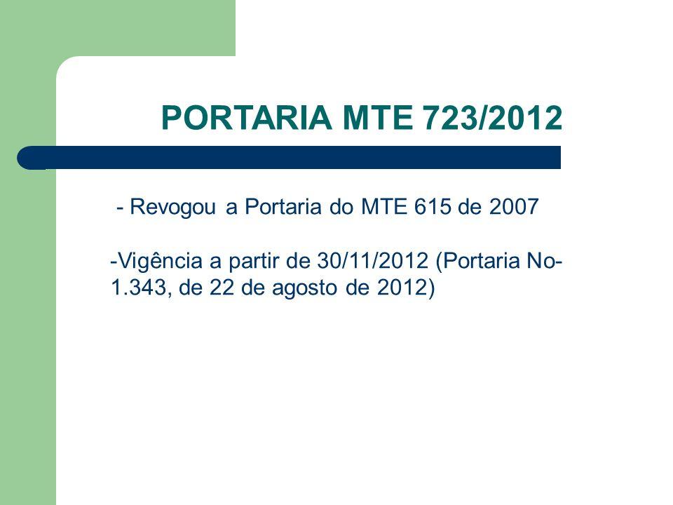 PORTARIA MTE 723/2012 - Revogou a Portaria do MTE 615 de 2007 -Vigência a partir de 30/11/2012 (Portaria No- 1.343, de 22 de agosto de 2012)