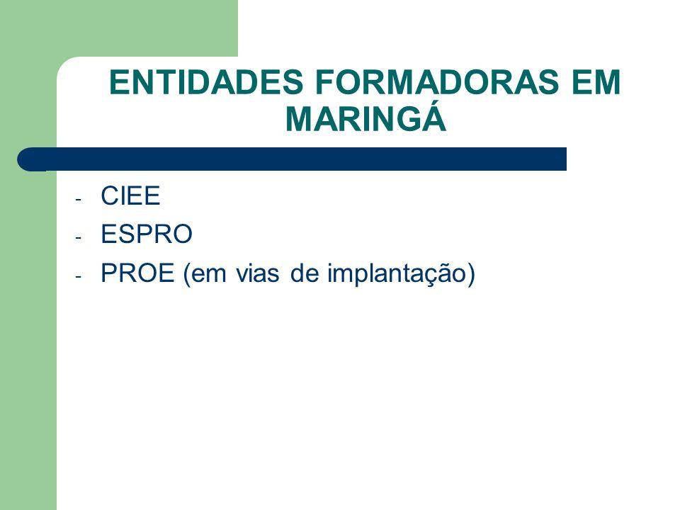 ENTIDADES FORMADORAS EM MARINGÁ - CIEE - ESPRO - PROE (em vias de implantação)