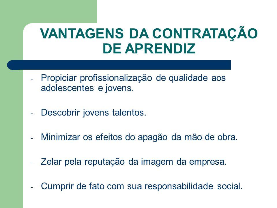 VANTAGENS DA CONTRATAÇÃO DE APRENDIZ - Propiciar profissionalização de qualidade aos adolescentes e jovens.