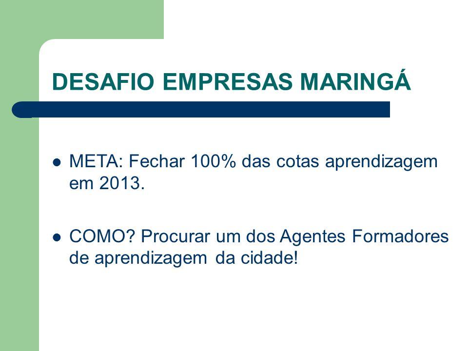 DESAFIO EMPRESAS MARINGÁ META: Fechar 100% das cotas aprendizagem em 2013.