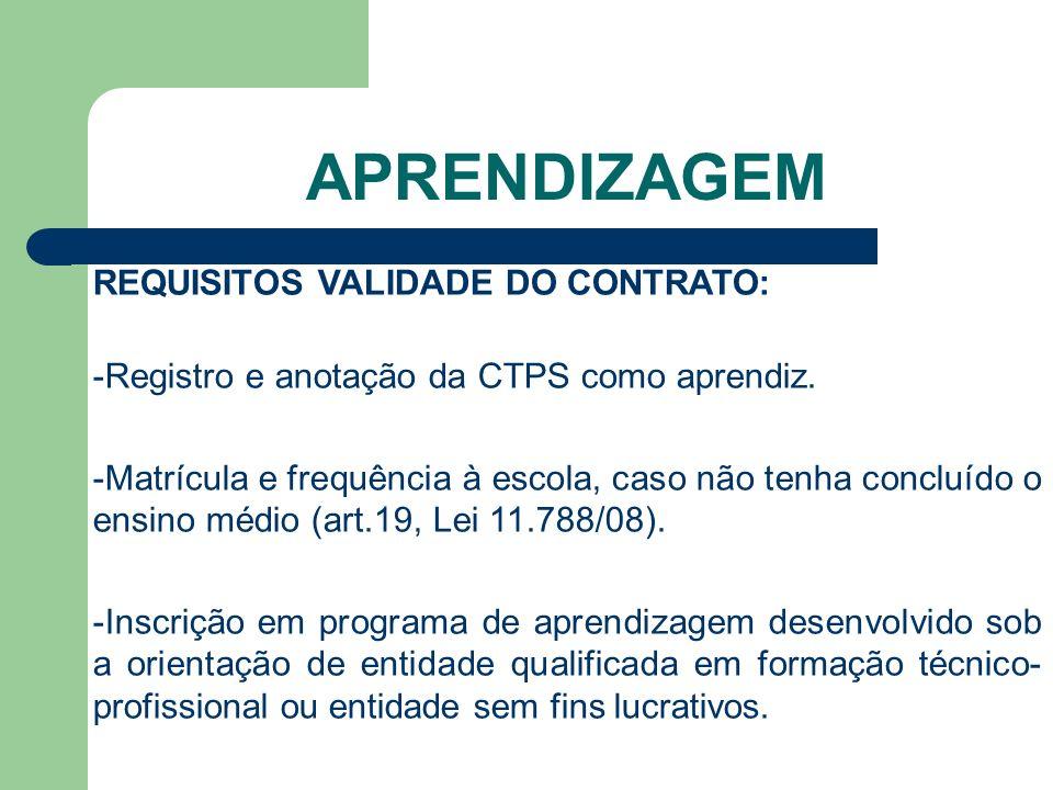 APRENDIZAGEM REQUISITOS VALIDADE DO CONTRATO: -Registro e anotação da CTPS como aprendiz.
