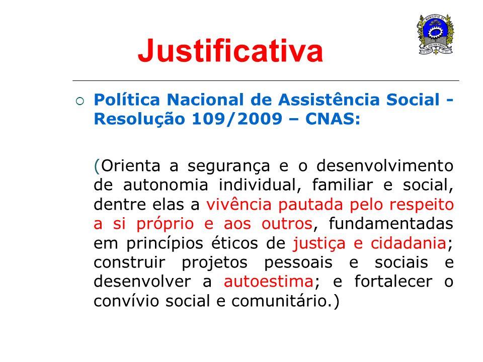 Justificativa Política Nacional de Assistência Social - Resolução 109/2009 – CNAS: (Orienta a segurança e o desenvolvimento de autonomia individual, f