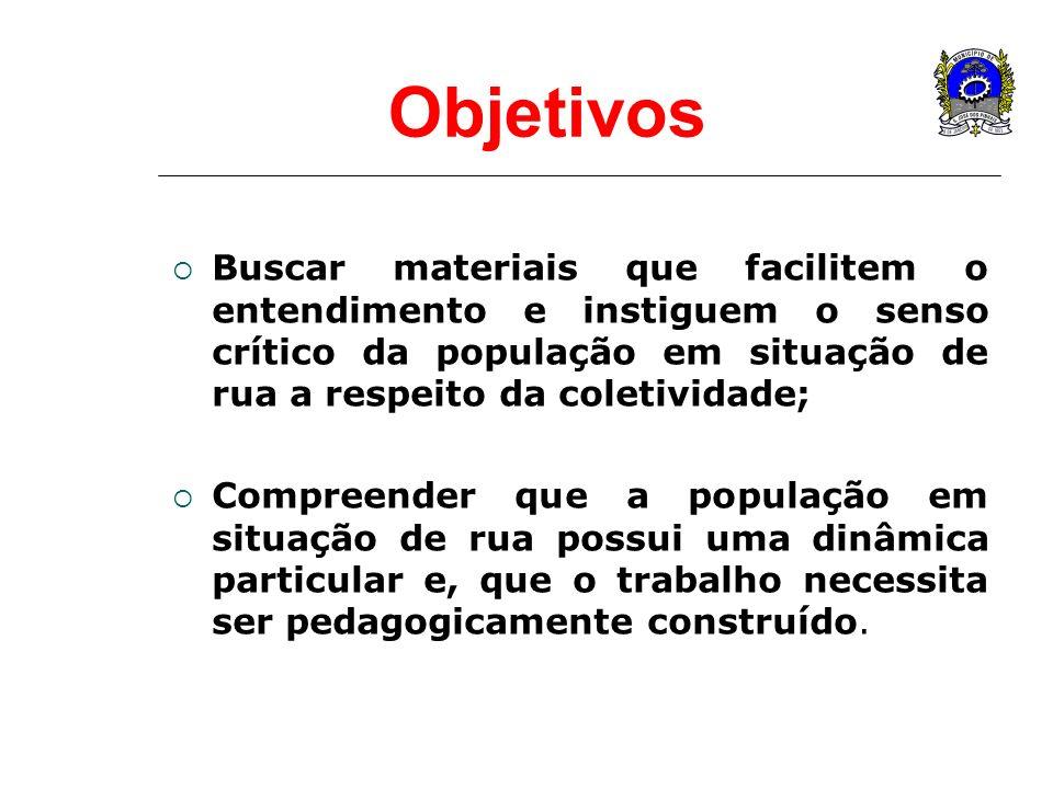 Objetivos Buscar materiais que facilitem o entendimento e instiguem o senso crítico da população em situação de rua a respeito da coletividade; Compre