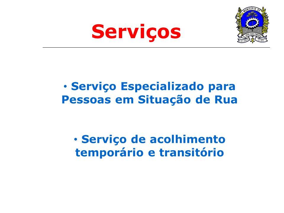 Serviço Especializado para Pessoas em Situação de Rua Serviço de acolhimento temporário e transitório Serviços
