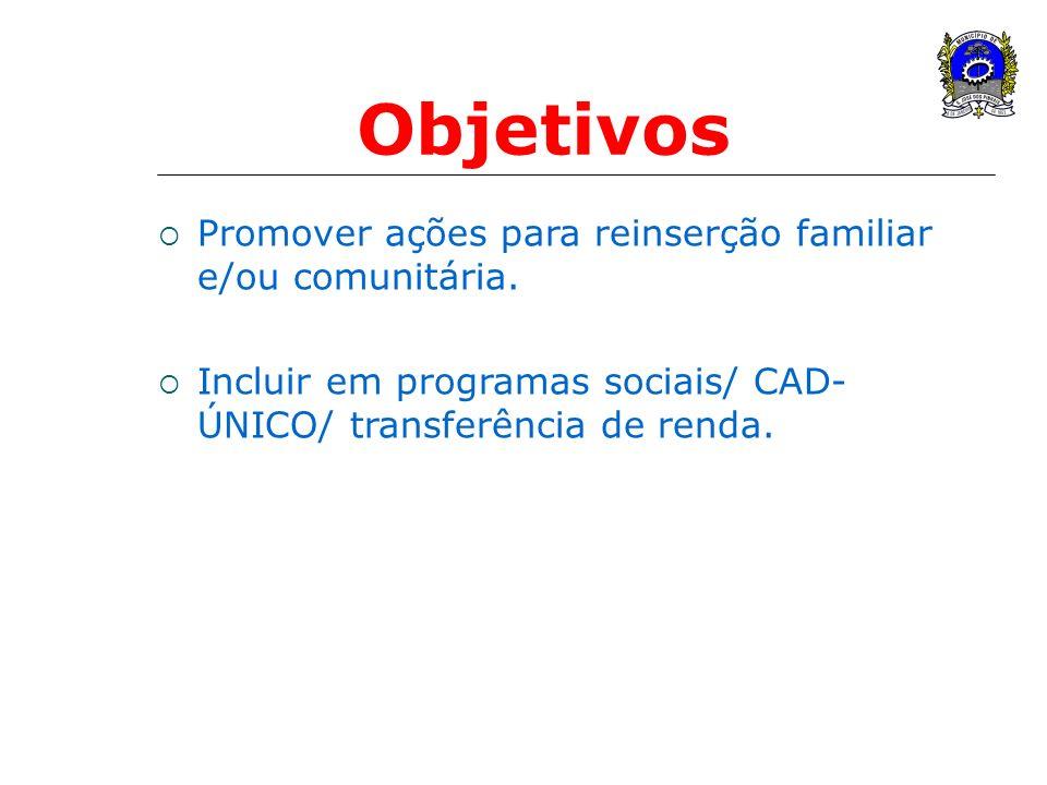 Promover ações para reinserção familiar e/ou comunitária. Incluir em programas sociais/ CAD- ÚNICO/ transferência de renda. Objetivos