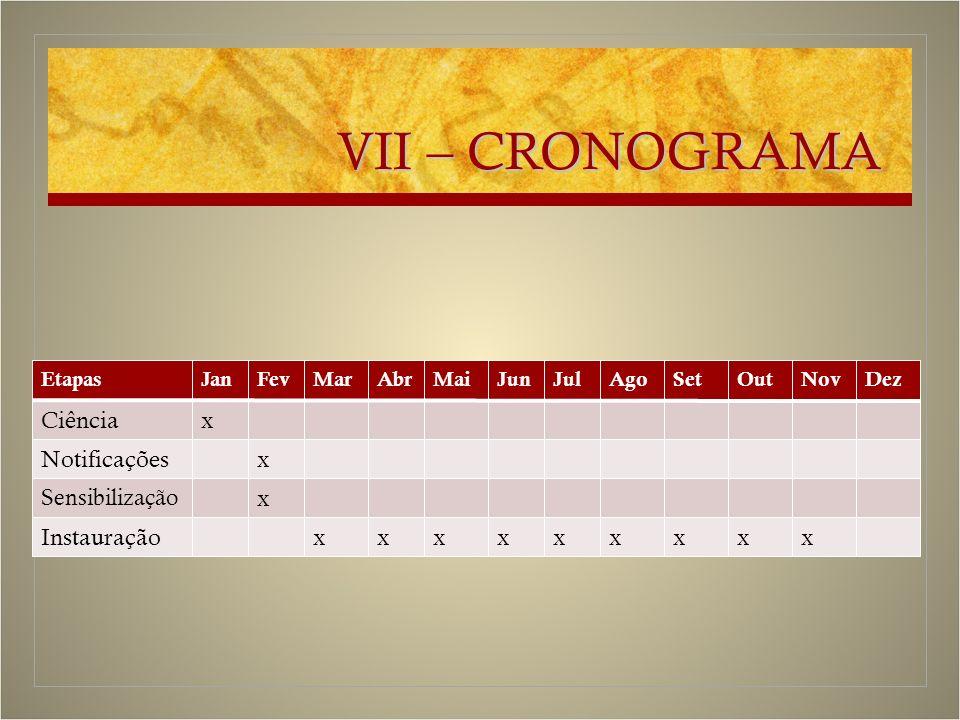 VII – CRONOGRAMA EtapasJanFevMarAbrMaiJunJulAgoSetOutNovDez Ciênciax Notificaçõesx Sensibilização x Instauraçãoxxxxxxxxx