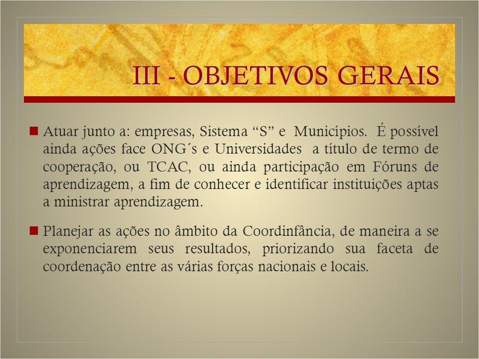 III - OBJETIVOS GERAIS Atuar junto a: empresas, Sistema S e Municípios.