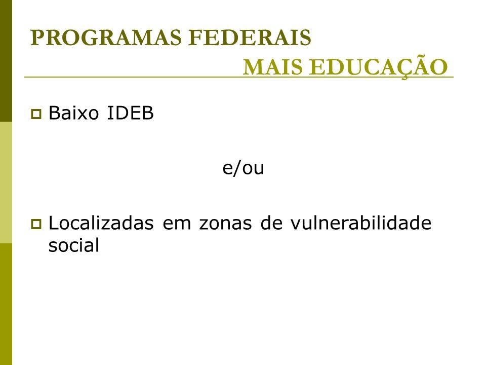 PROGRAMAS FEDERAIS MAIS EDUCAÇÃO Baixo IDEB e/ou Localizadas em zonas de vulnerabilidade social