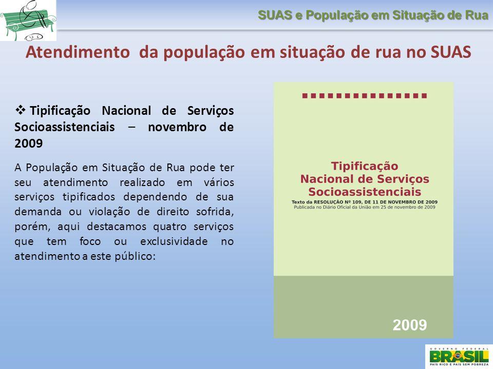 Tipificação Nacional de Serviços Socioassistenciais – novembro de 2009 A População em Situação de Rua pode ter seu atendimento realizado em vários ser