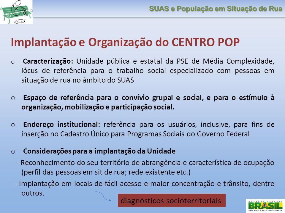 Implantação e Organização do CENTRO POP o Caracterização: Unidade pública e estatal da PSE de Média Complexidade, lócus de referência para o trabalho