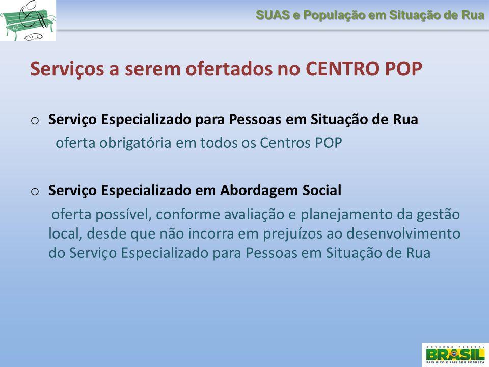 Serviços a serem ofertados no CENTRO POP o Serviço Especializado para Pessoas em Situação de Rua oferta obrigatória em todos os Centros POP o Serviço
