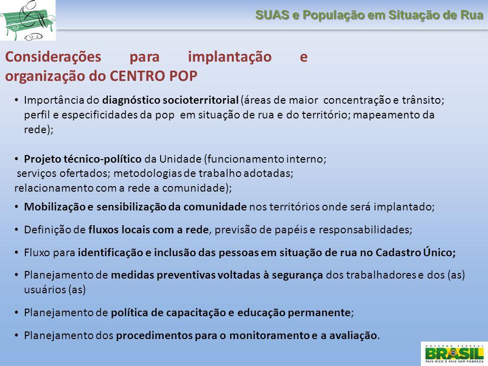 Considerações para implantação e organização do CENTRO POP Importância do diagnóstico socioterritorial (áreas de maior concentração e trânsito; perfil