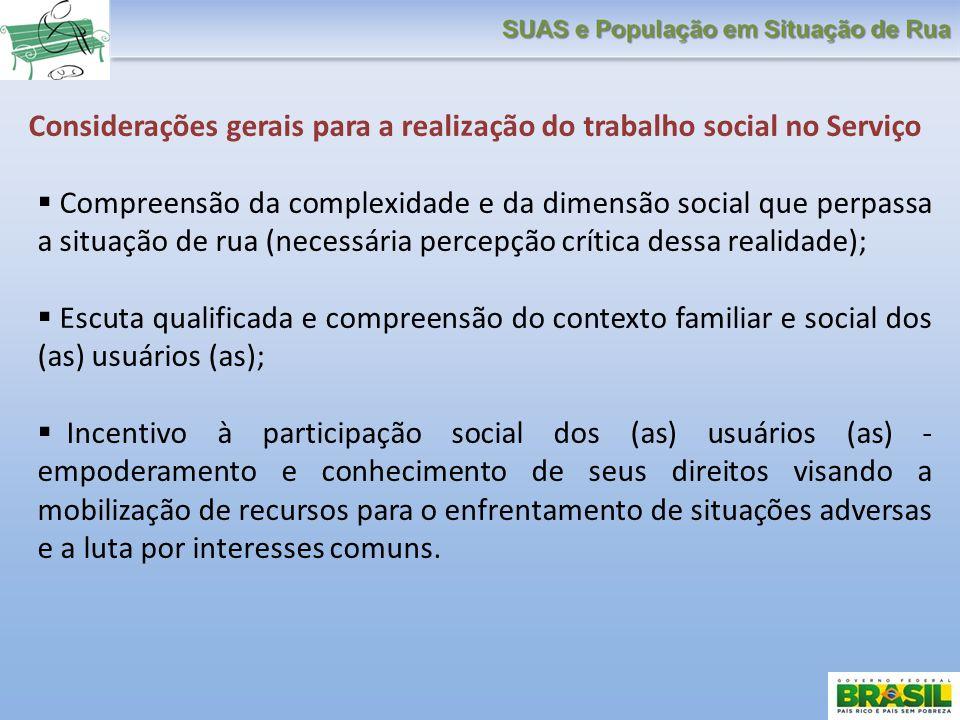 Considerações gerais para a realização do trabalho social no Serviço Compreensão da complexidade e da dimensão social que perpassa a situação de rua (