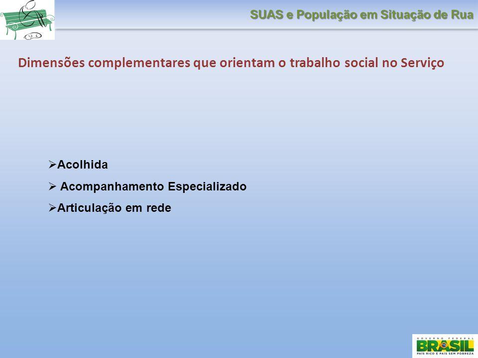 Dimensões complementares que orientam o trabalho social no Serviço Acolhida Acompanhamento Especializado Articulação em rede