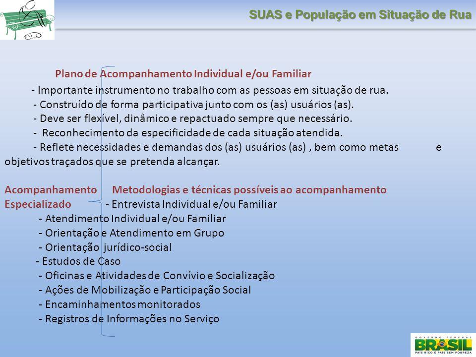 Plano de Acompanhamento Individual e/ou Familiar - Importante instrumento no trabalho com as pessoas em situação de rua. - Construído de forma partici