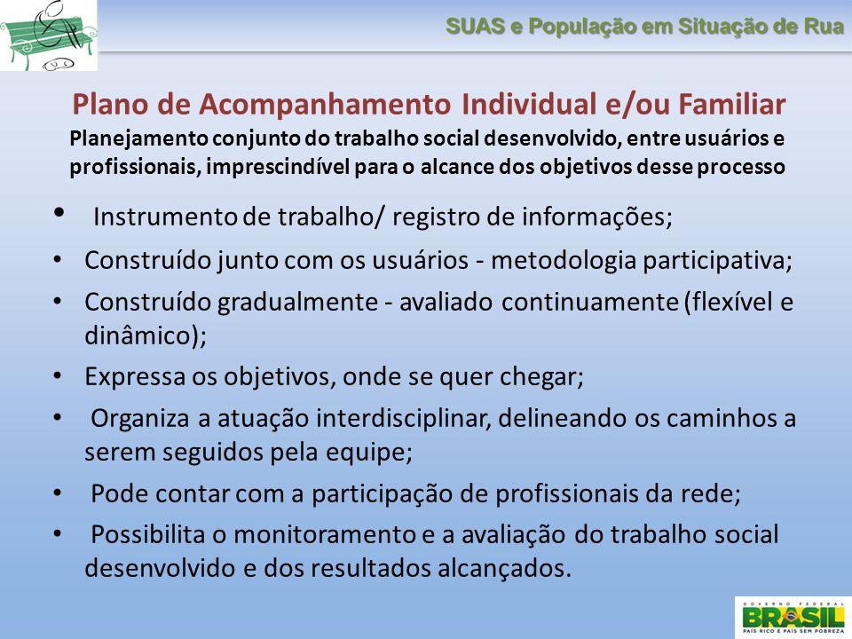 Plano de Acompanhamento Individual e/ou Familiar Planejamento conjunto do trabalho social desenvolvido, entre usuários e profissionais, imprescindível