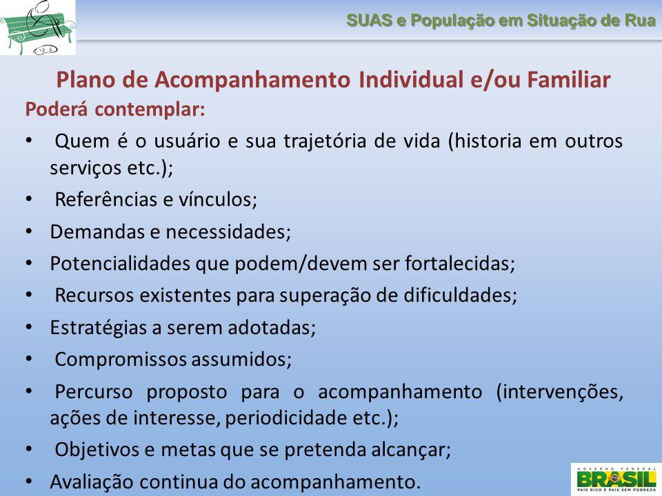 Plano de Acompanhamento Individual e/ou Familiar Poderá contemplar: Quem é o usuário e sua trajetória de vida (historia em outros serviços etc.); Refe
