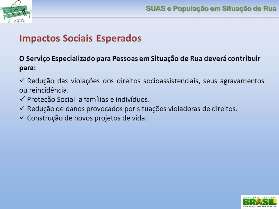 Impactos Sociais Esperados O Serviço Especializado para Pessoas em Situação de Rua deverá contribuir para: Redução das violações dos direitos socioass