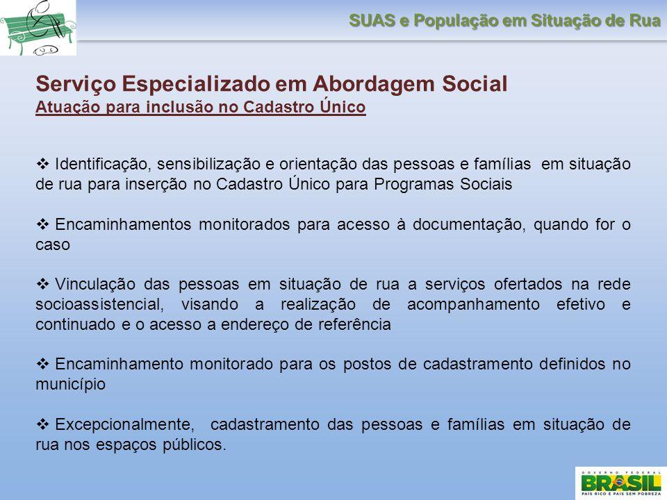 Serviço Especializado em Abordagem Social Atuação para inclusão no Cadastro Único Identificação, sensibilização e orientação das pessoas e famílias em
