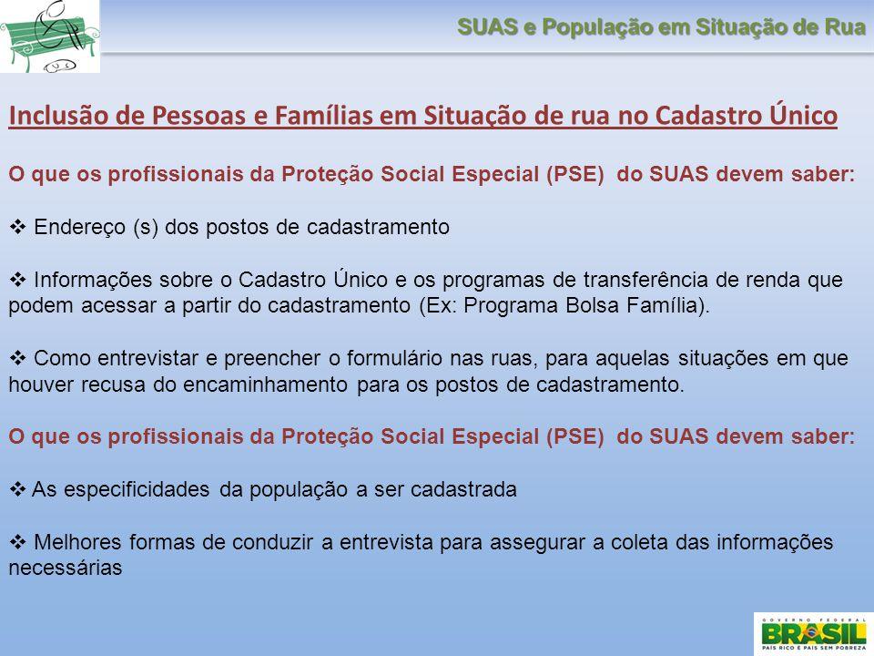 Inclusão de Pessoas e Famílias em Situação de rua no Cadastro Único O que os profissionais da Proteção Social Especial (PSE) do SUAS devem saber: Ende