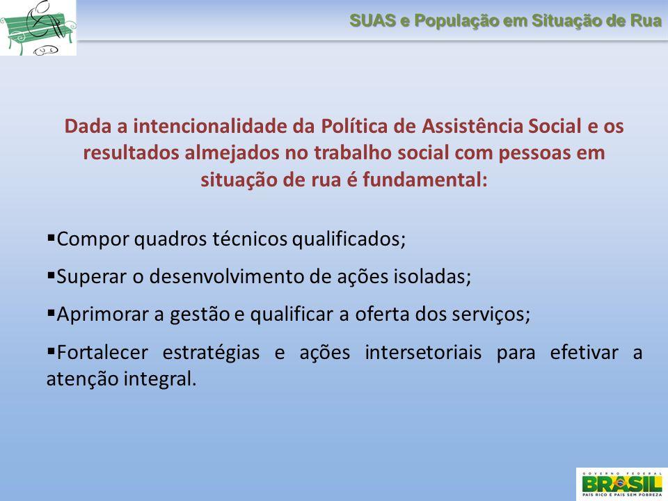 Dada a intencionalidade da Política de Assistência Social e os resultados almejados no trabalho social com pessoas em situação de rua é fundamental: C
