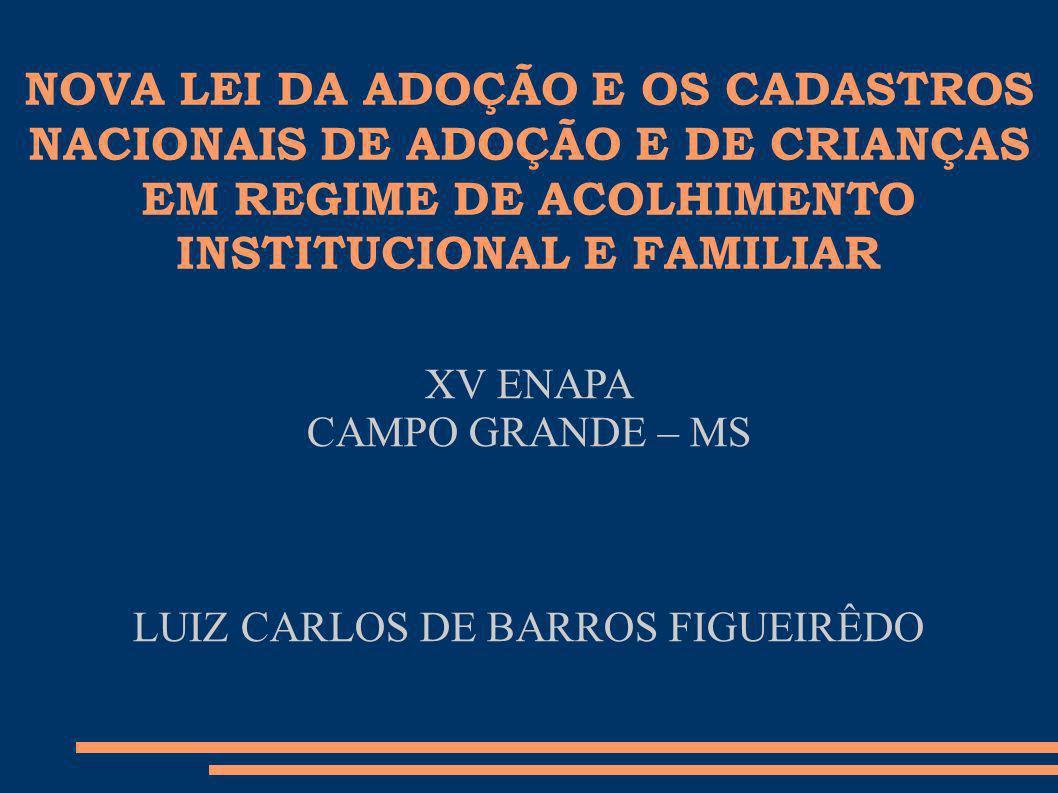 NOVA LEI DA ADOÇÃO E OS CADASTROS NACIONAIS DE ADOÇÃO E DE CRIANÇAS EM REGIME DE ACOLHIMENTO INSTITUCIONAL E FAMILIAR XV ENAPA CAMPO GRANDE – MS LUIZ