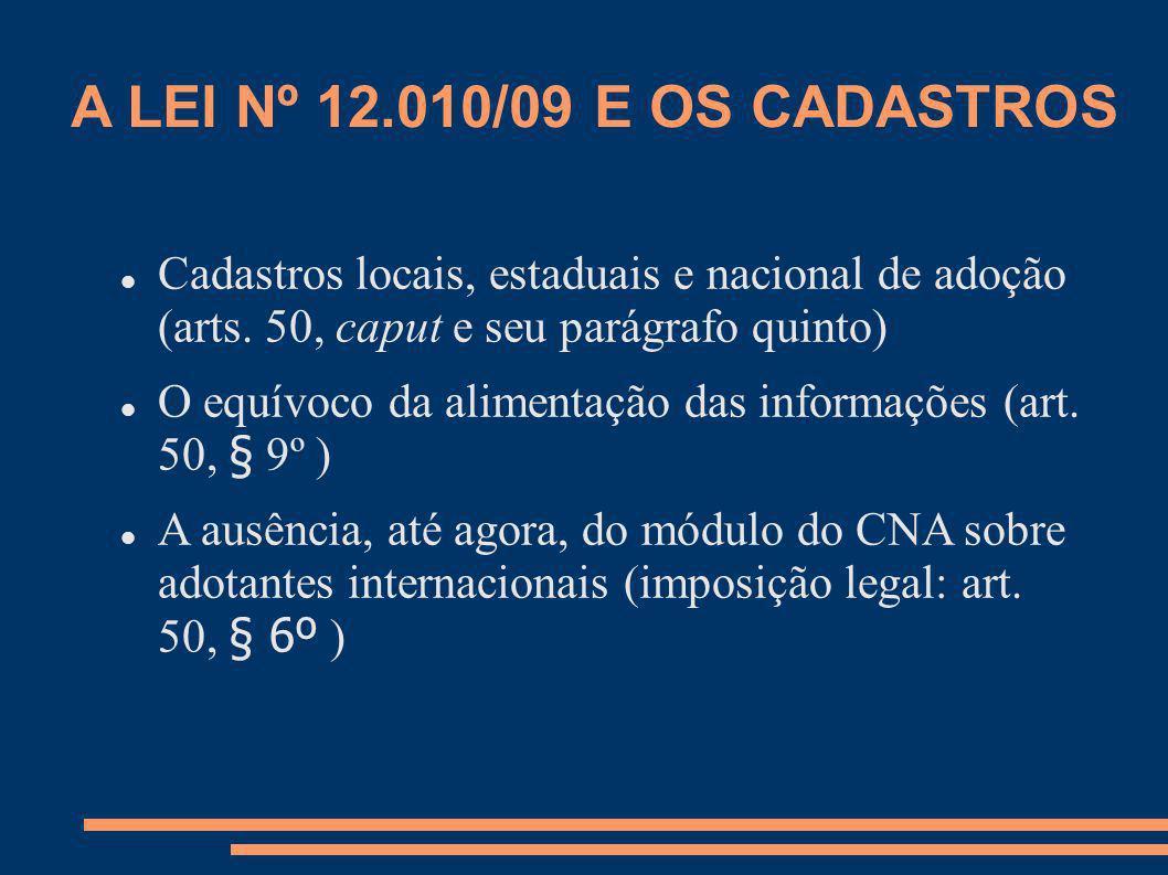 A LEI Nº 12.010/09 E OS CADASTROS Cadastros locais, estaduais e nacional de adoção (arts. 50, caput e seu parágrafo quinto) O equívoco da alimentação