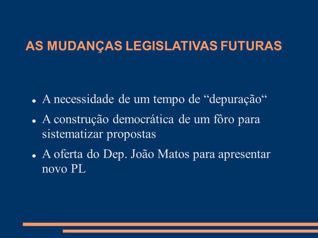 AS MUDANÇAS LEGISLATIVAS FUTURAS A necessidade de um tempo de depuração A construção democrática de um fôro para sistematizar propostas A oferta do De