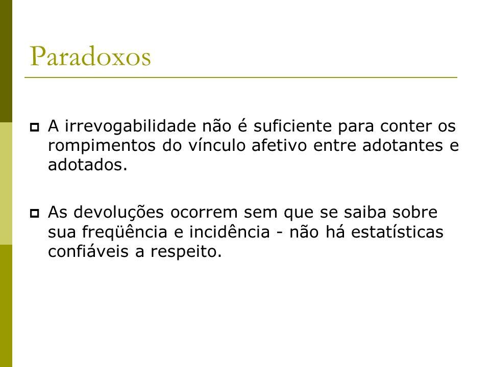 Paradoxos A irrevogabilidade não é suficiente para conter os rompimentos do vínculo afetivo entre adotantes e adotados.