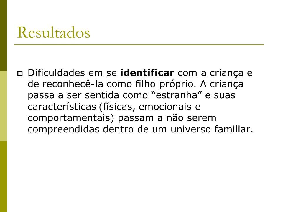 Resultados Dificuldades em se identificar com a criança e de reconhecê-la como filho próprio.