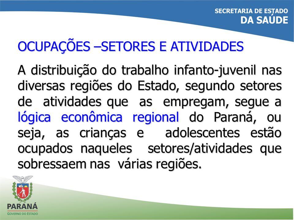 OCUPAÇÕES –SETORES E ATIVIDADES A distribuição do trabalho infanto-juvenil nas diversas regiões do Estado, segundo setores de atividades que as empreg