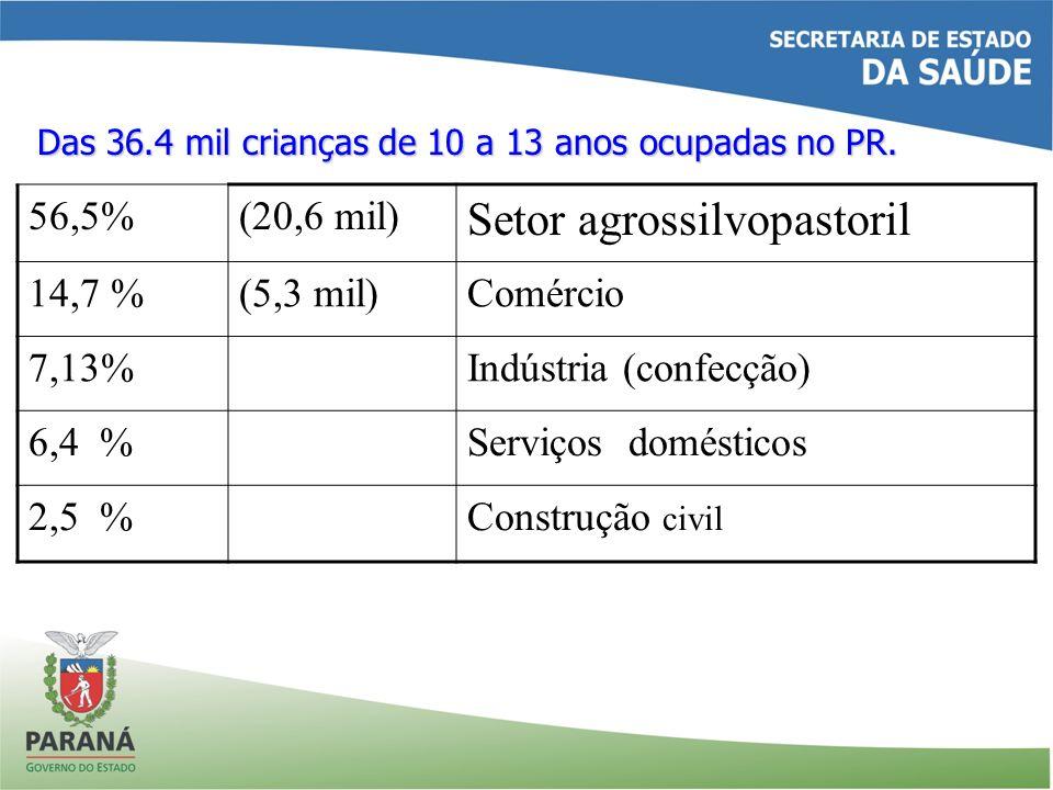 Das 36.4 mil crianças de 10 a 13 anos ocupadas no PR. 56,5%(20,6 mil) Setor agrossilvopastoril 14,7 %(5,3 mil)Comércio 7,13%Indústria (confecção) 6,4