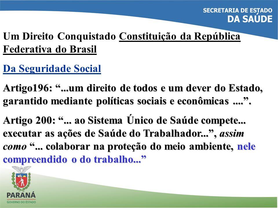 Um Direito Conquistado Constituição da República Federativa do Brasil Da Seguridade Social Artigo196:...um direito de todos e um dever do Estado, gara