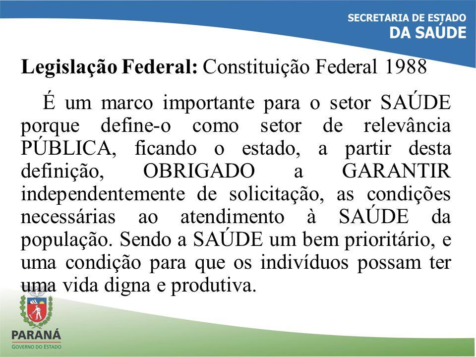 Legislação Federal: Constituição Federal 1988 É um marco importante para o setor SAÚDE porque define-o como setor de relevância PÚBLICA, ficando o est