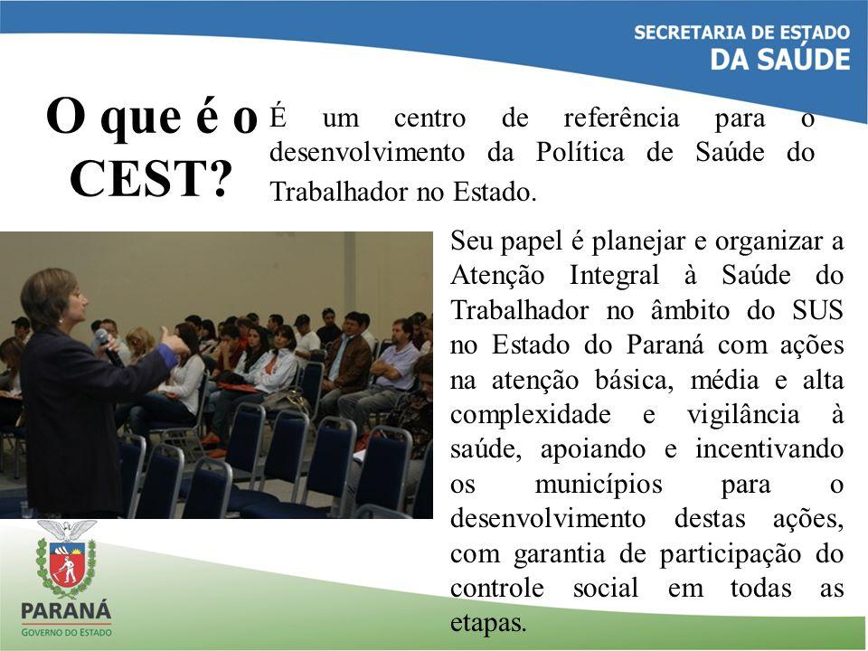 O que é o CEST? É um centro de referência para o desenvolvimento da Política de Saúde do Trabalhador no Estado. Seu papel é planejar e organizar a Ate