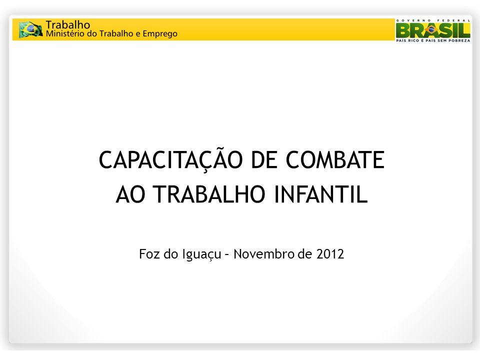 CAPACITAÇÃO DE COMBATE AO TRABALHO INFANTIL Foz do Iguaçu – Novembro de 2012