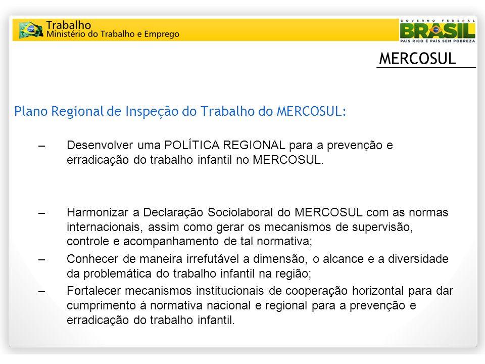 MERCOSUL Plano Regional de Inspeção do Trabalho do MERCOSUL: –Desenvolver uma POLÍTICA REGIONAL para a prevenção e erradicação do trabalho infantil no