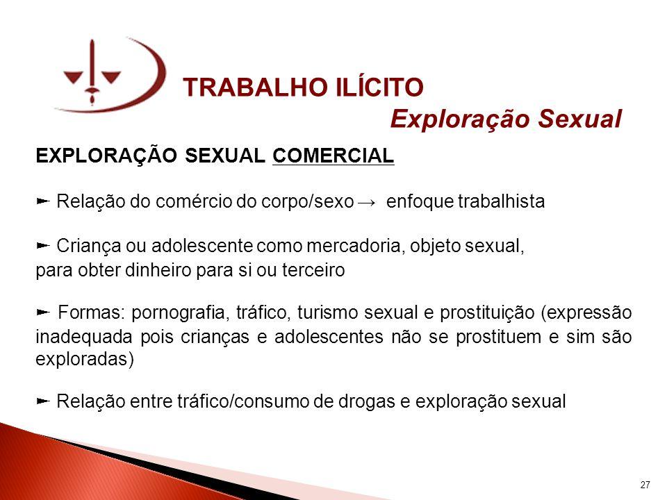TRABALHO ILÍCITO Exploração Sexual EXPLORAÇÃO SEXUAL COMERCIAL Relação do comércio do corpo/sexo enfoque trabalhista Criança ou adolescente como merca