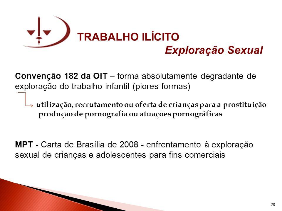 TRABALHO ILÍCITO Exploração Sexual Convenção 182 da OIT – forma absolutamente degradante de exploração do trabalho infantil (piores formas) utilização