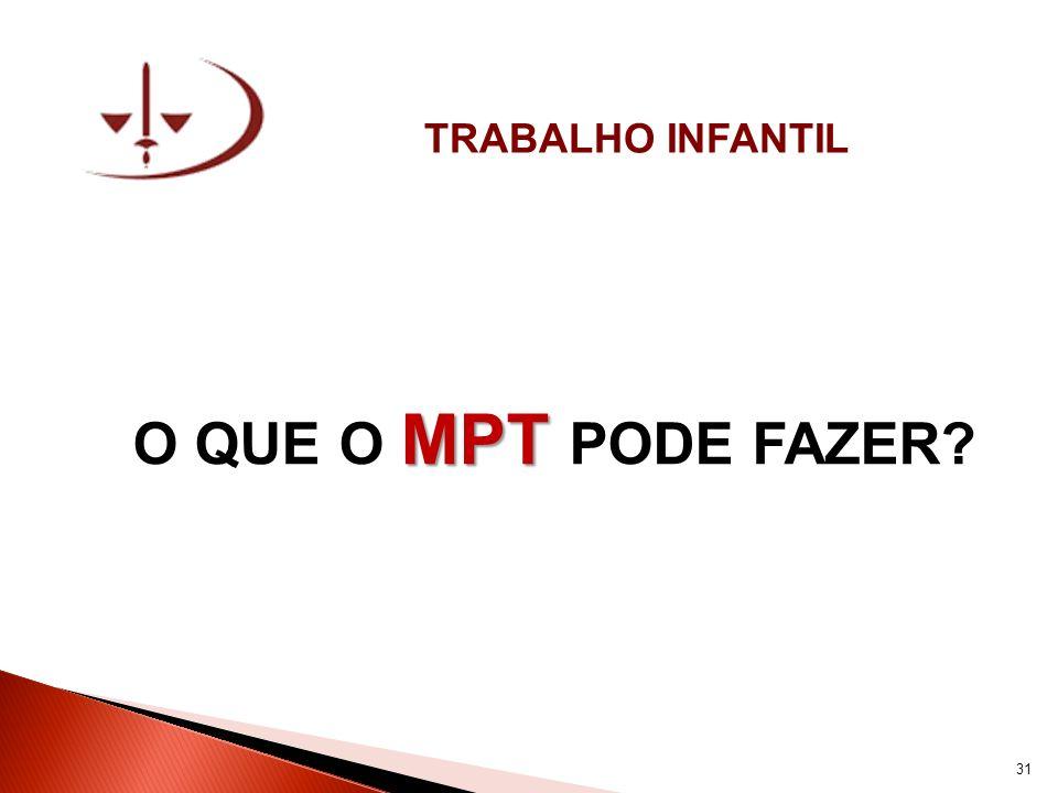 TRABALHO INFANTIL MPT O QUE O MPT PODE FAZER? 31